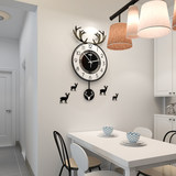Merida Nordic Deer Head Clock Wall Clock Living Room Personality Creative Fashion Home Art Clock Net Red Decorative Table