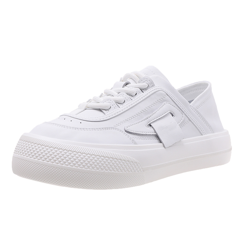 真皮小白鞋女ins潮夏季薄款大头厚底面包鞋设计感小众原创老爹鞋 No.4