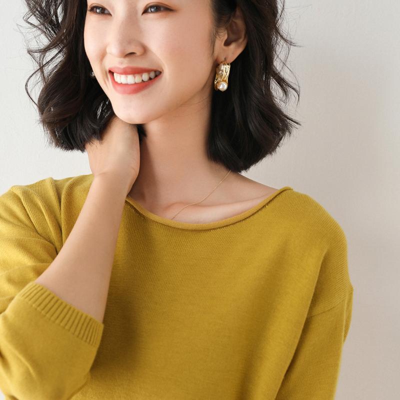 秋冬新款圆领套头毛衣女薄款内搭显瘦洋气毛衫大码长袖上衣打底衫