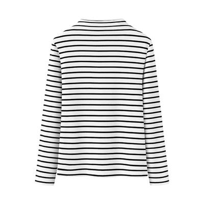 艾米恋黑白条纹长袖t恤女秋冬德绒保暖内搭打底衫半高领修身上衣