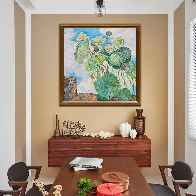 微风中的荷花 现代简约风景装饰画 客厅餐厅玄关美式挂画版画