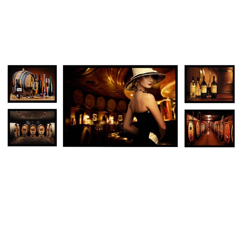 葡萄酒酒庄装饰画红酒会所挂画酒窖橡木桶海报酒吧壁画复古墙画