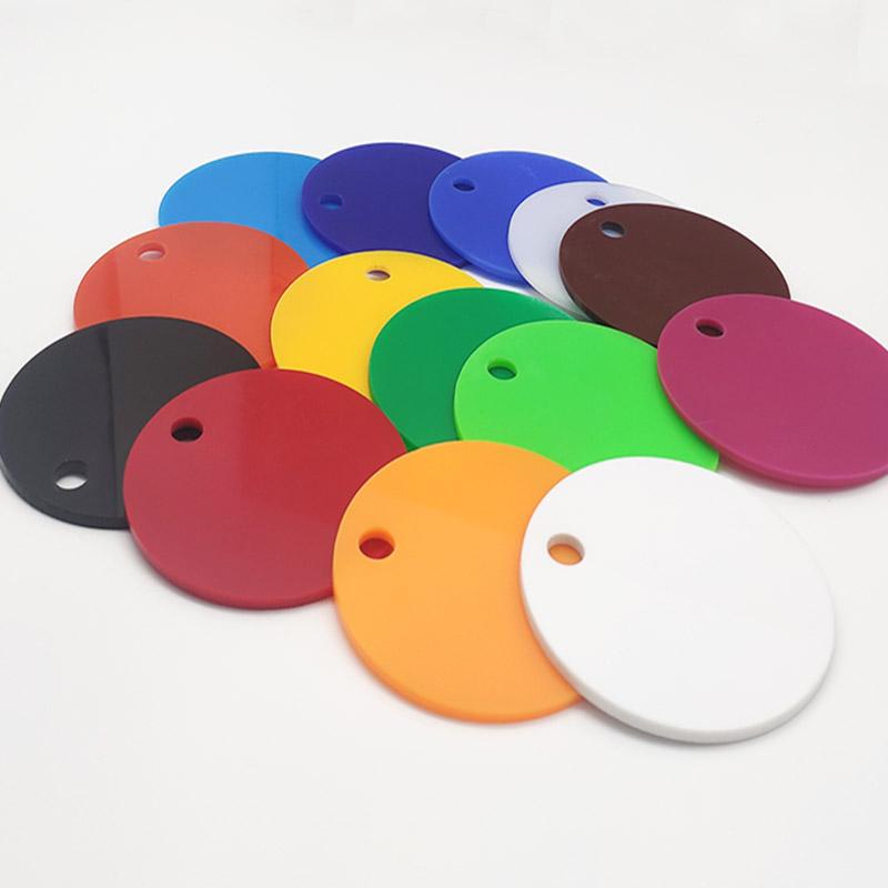 彩色不透亚克力板定制圆形有机玻璃塑料板加工红黄蓝黑白金色切割