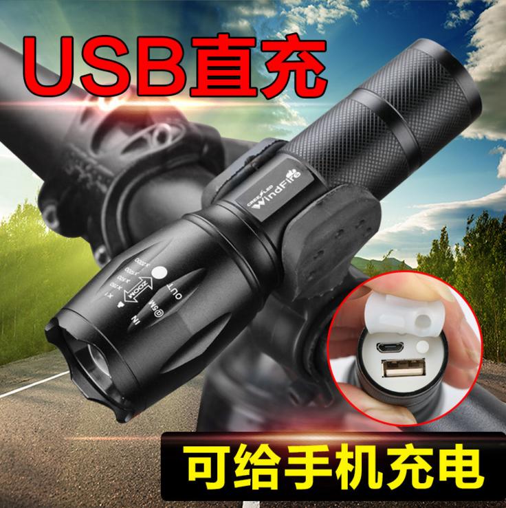 夜骑t6自行车灯车前灯USB充电强光LED手电筒山地车骑行装备配件