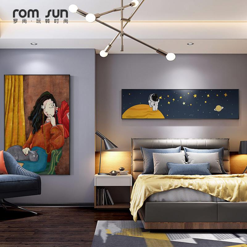 原创现代简约卧室床头壁画北欧轻奢客厅装饰画创意沙发背景墙挂画