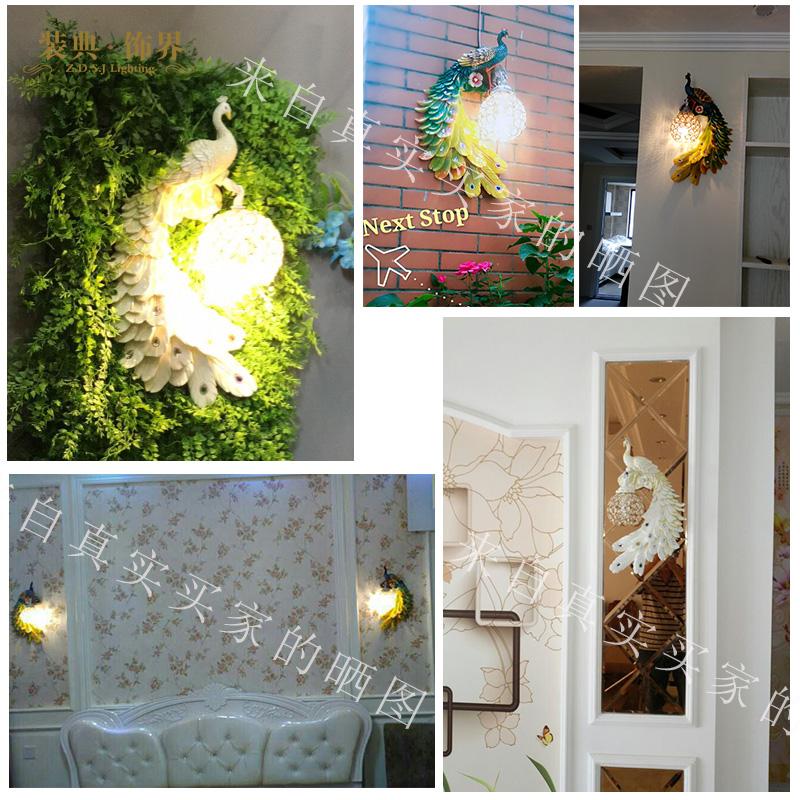 东南亚孔雀壁饰水晶壁灯法式田园床头过道欧式客厅电视背景墙灯具