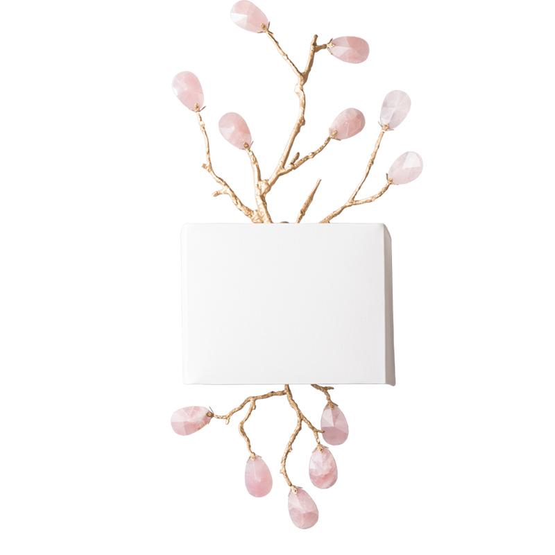 美式简约复古做旧水晶玛瑙树枝壁灯卧室公主房壁灯白色灯罩壁灯