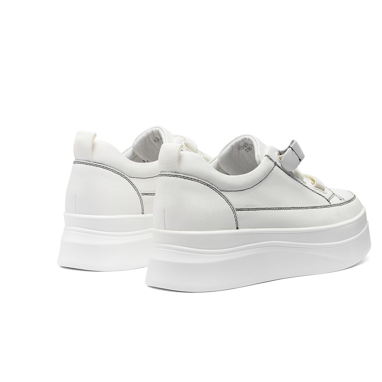 秋季新款松糕底百搭小白鞋增高厚底时尚真皮休闲鞋 2020 千百度女鞋