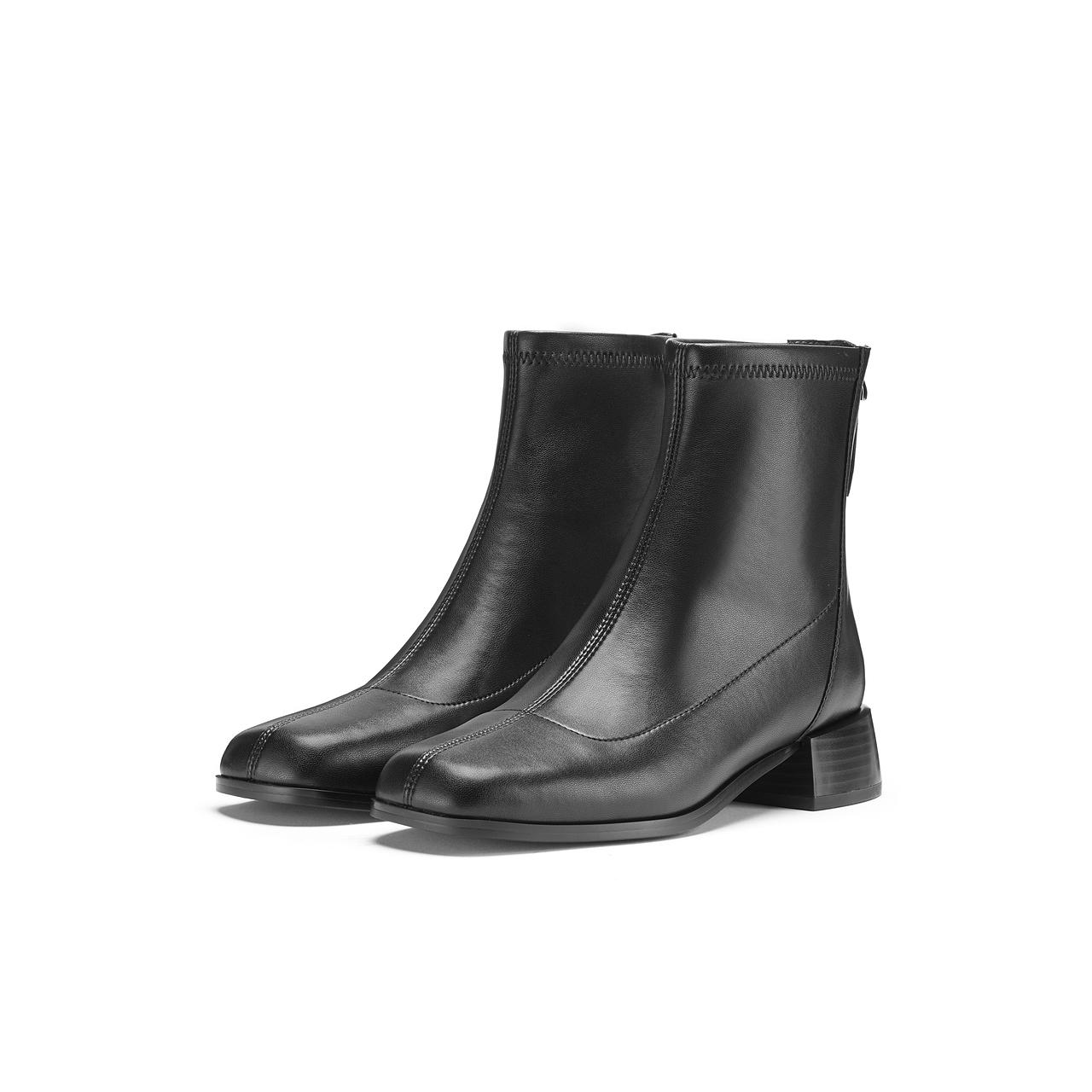 新款女靴中跟短靴 2020 千百度女鞋简约气质时装靴 姐推荐 K 预售