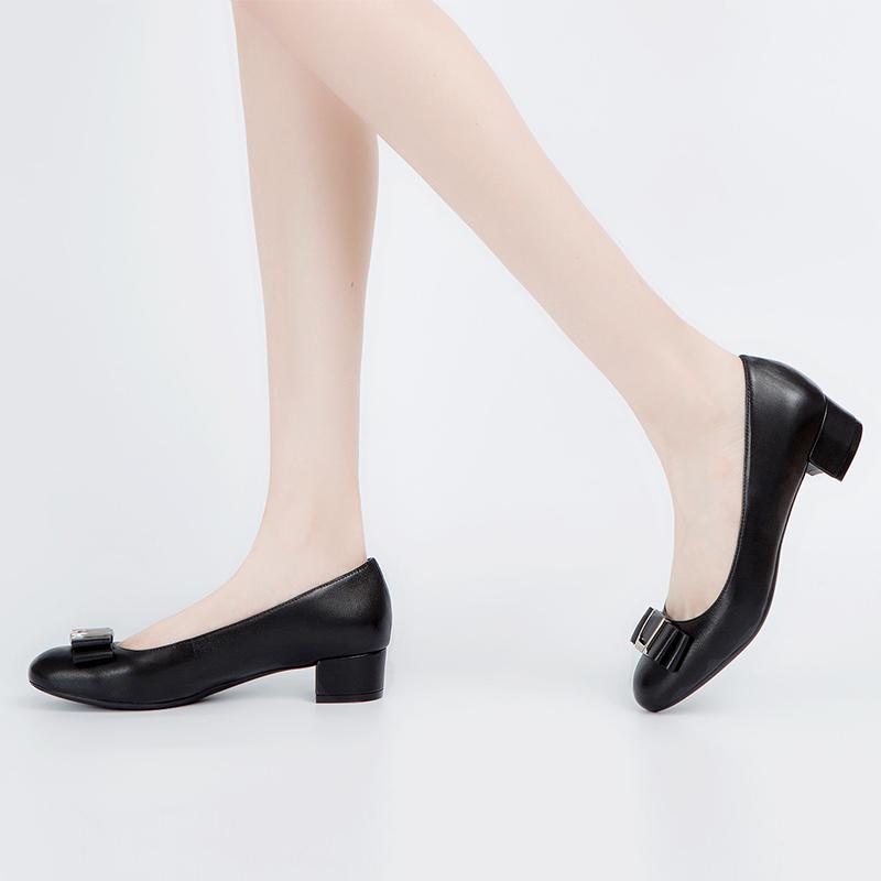 A7474302 千百度春秋新品商场同款蝴蝶结中低跟女鞋单鞋 C.BANNER