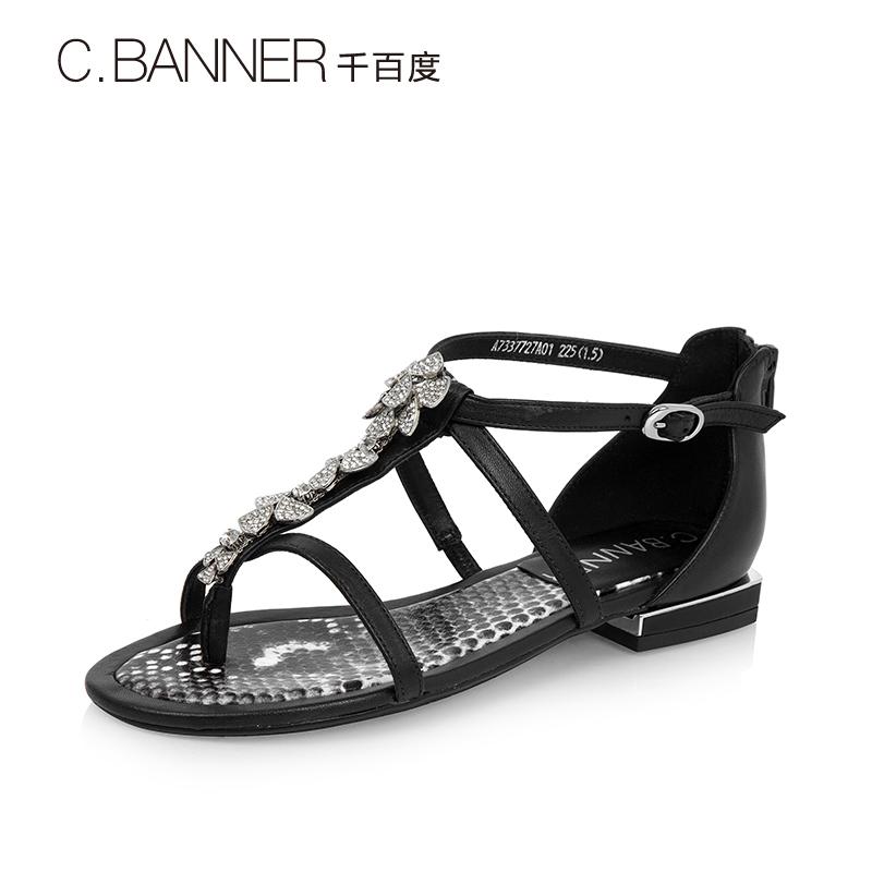 A7337727 千百度夏季细条带低跟女凉鞋罗马鞋 C.BANNER