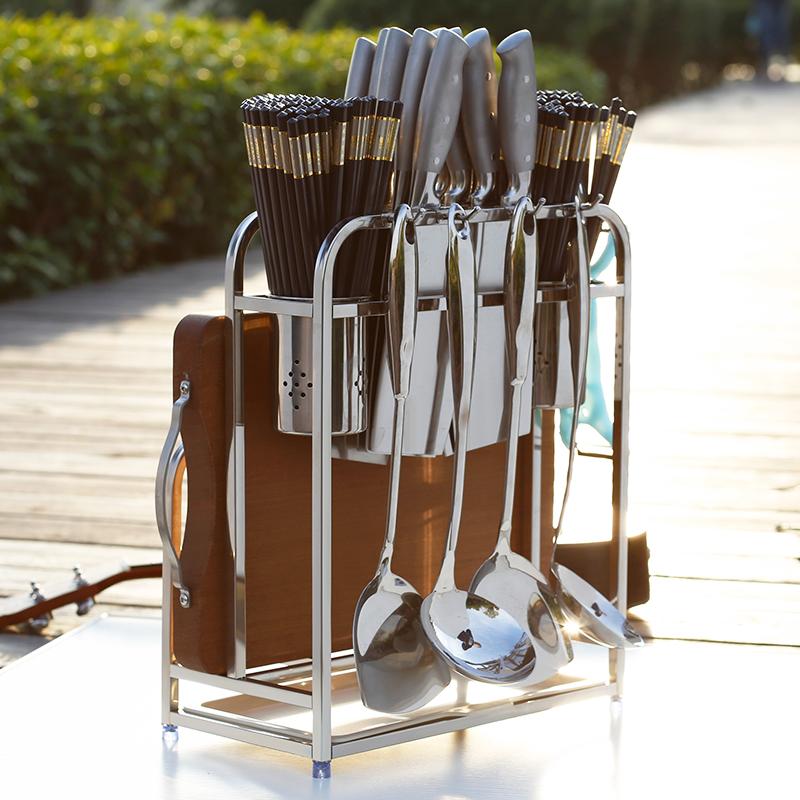 创意不锈钢刀架放菜板筷子刀具一体置物架家用厨房落地收