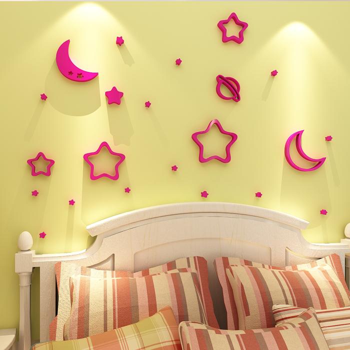 星星月亮立體牆貼寶寶兒童房間臥室天花板床頭牆面上裝飾壁畫貼紙