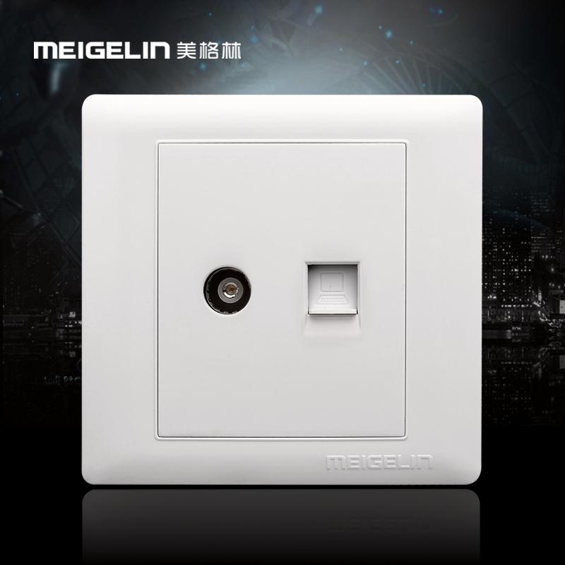 86型牆壁開關插座面板有線閉路網路網線寬頻電視電腦插座象牙白