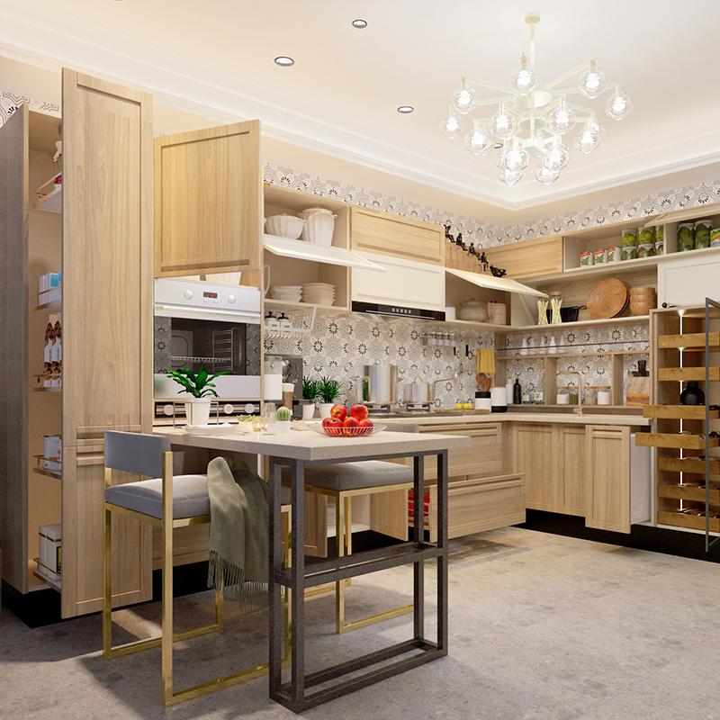 欧派橱柜整体橱柜厨房定做石英石台面组装雅致田园风橱柜预付金