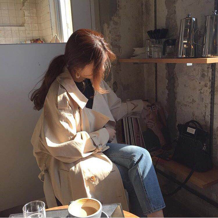 韩国复古学院宽松外套女 双排扣长款风衣 8 米 2 今日气场 秋天瞩目