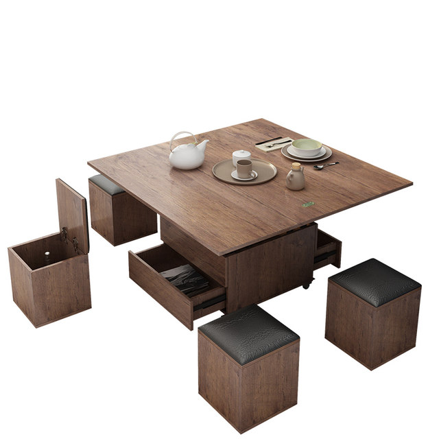 Small Apartment Lifting Folding Coffee Table Modern Minimalist Creative Storage Retractable Multifunctional Coffee Table Into A