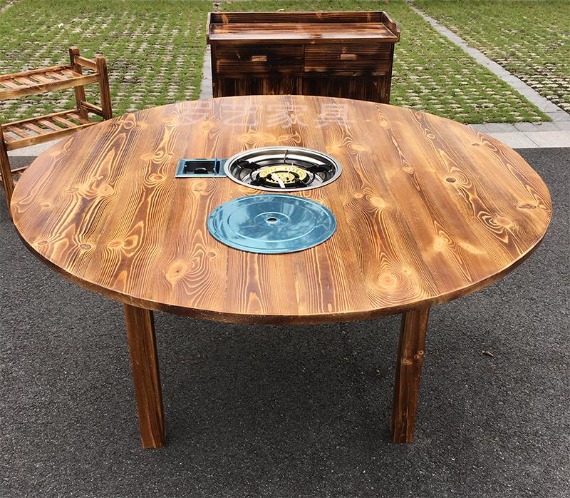 农家农庄碳烧实木石锅鱼火锅桌圆形长方形餐桌椅组合煤气炉电磁炉