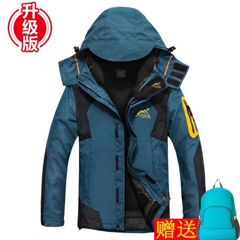 户外冬季冲锋衣男三合一两件套衣裤套装加绒加厚防水登山服女潮牌