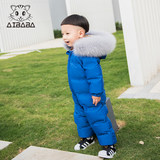 Baby Siamese men winter thick down jacket out clothes for children plus velvet Romper 1--3-year-old female baby Siamese climbing clothing