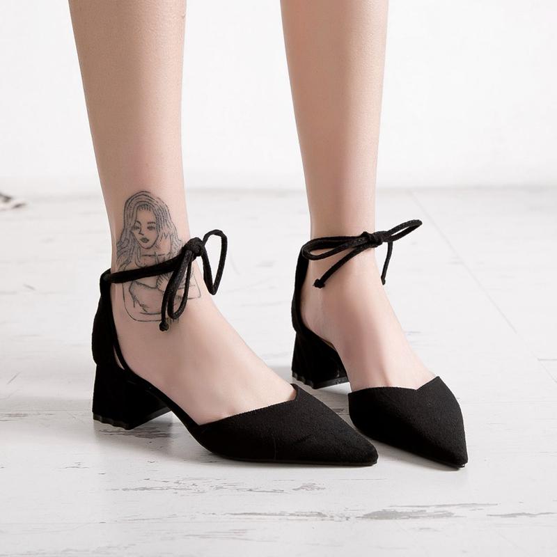 高跟鞋女粗跟2018秋季新款韩版职业百搭网红少女浅口中跟尖头单鞋