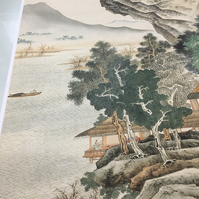 1:1张大千沧浪渔笛图仿古青绿工笔山水国画高清微喷复制品装饰画