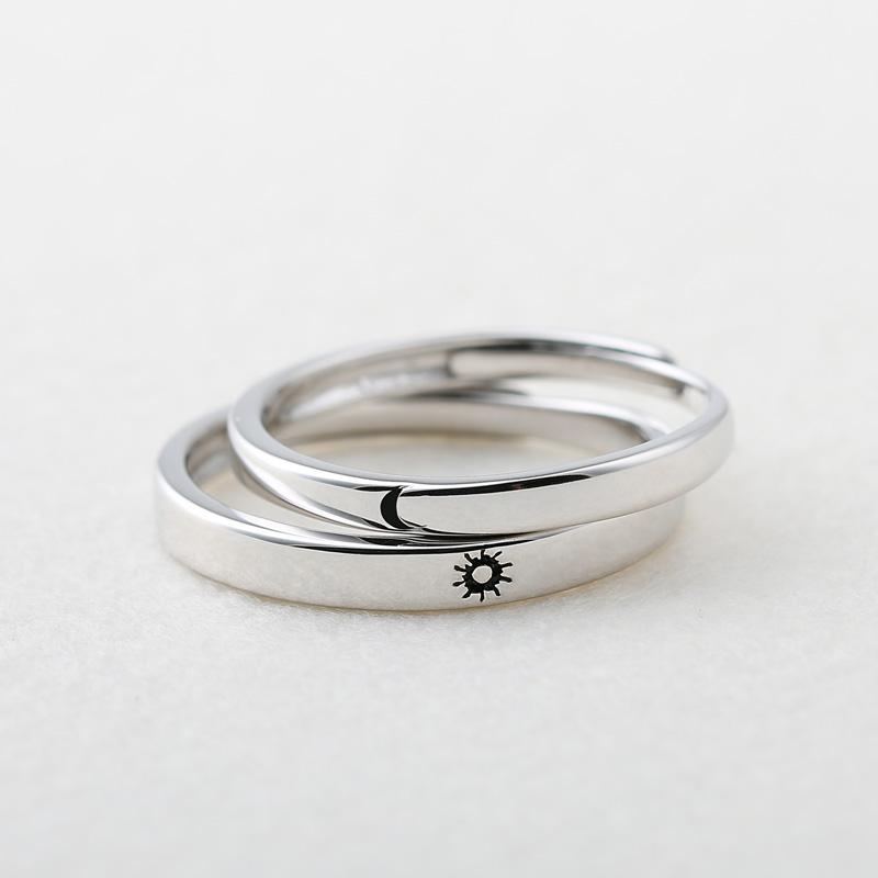 小众设计原创日月情侣戒指纯银一对活口男女学生简约日韩对戒刻字