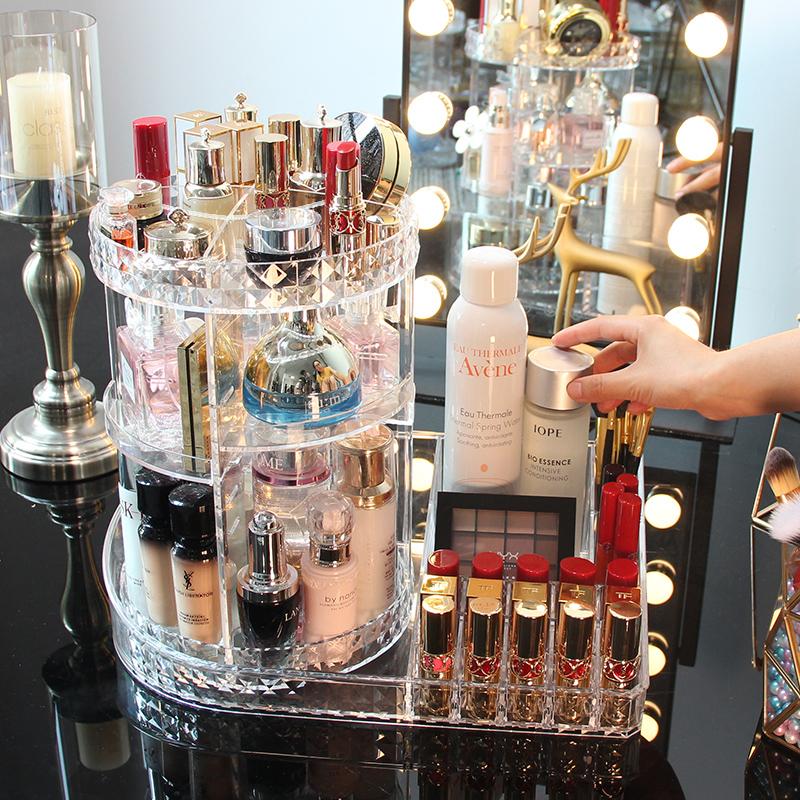 网红旋转化妆品收纳盒抖音同款桌面亚克力梳妆台口红护肤品置物架【图2】