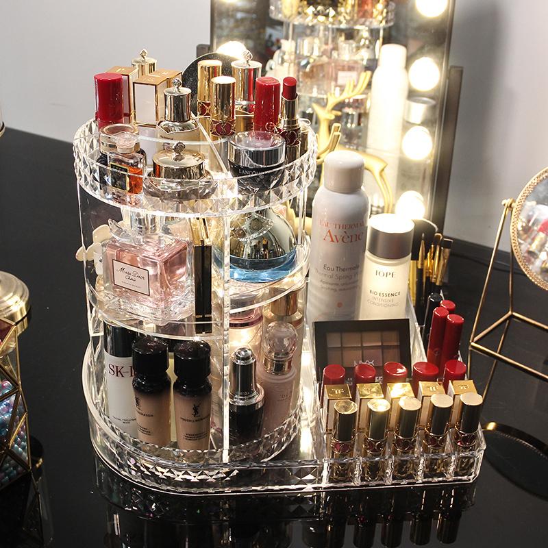 网红旋转化妆品收纳盒抖音同款桌面亚克力梳妆台口红护肤品置物架【图3】