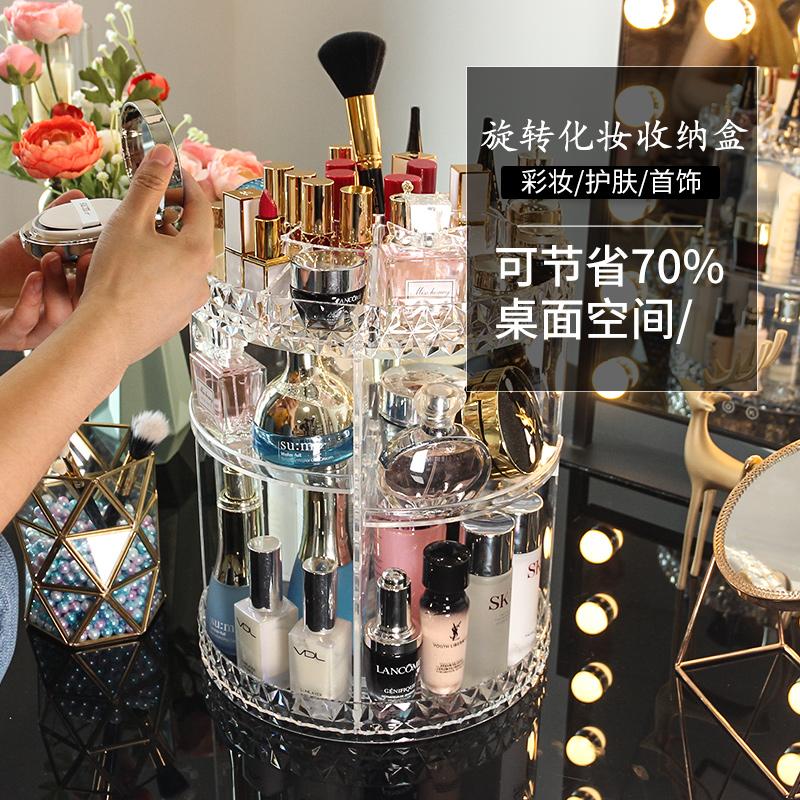 旋转化妆品收纳盒透明亚克力桌面梳妆台护肤品口红置物架抖音同款