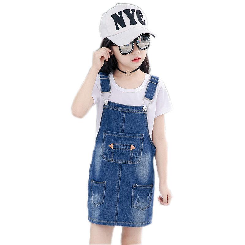 女孩连衣裙2018新款韩版儿童春夏中大童牛仔吊带裙女童牛仔背带裙