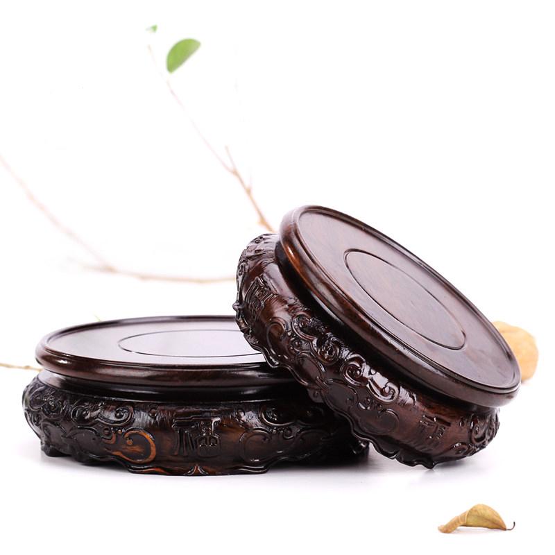 红木花瓶圆形佛像茶壶茶具花盆栽鱼缸奇石头实木底座摆件香炉托架