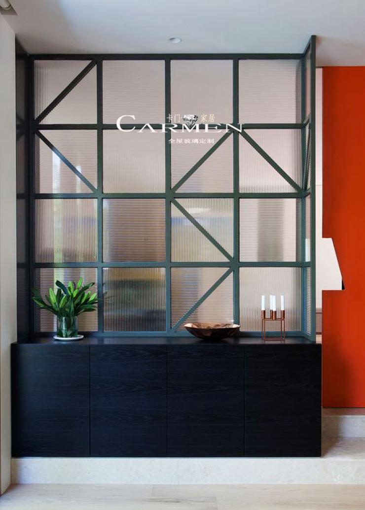 聚光立体艺术玻璃条纹波浪瓦楞钢化玻璃长虹极窄边框隔断屏风定制