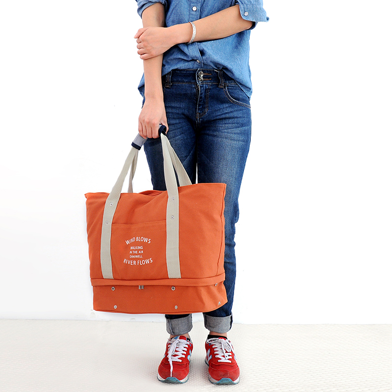 韓版旅行女手提包多功能大容量短途帆布收納袋健身房運動健身包男