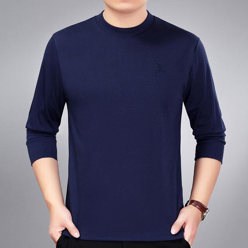 春秋季中年男士长袖 恤圆领爸爸冬装薄款上衣中老年人秋衣体恤衫  T