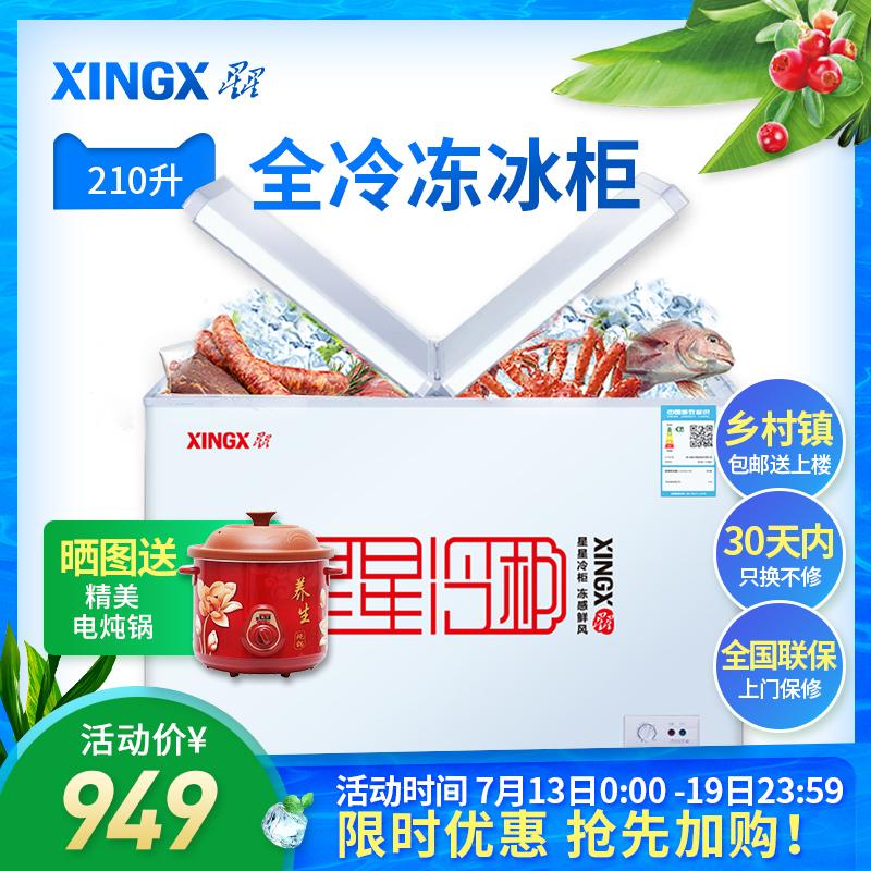 XINGX/星星 BD/BC-210HEC冰櫃家用商用小型 臥式單溫全冷凍冷藏櫃