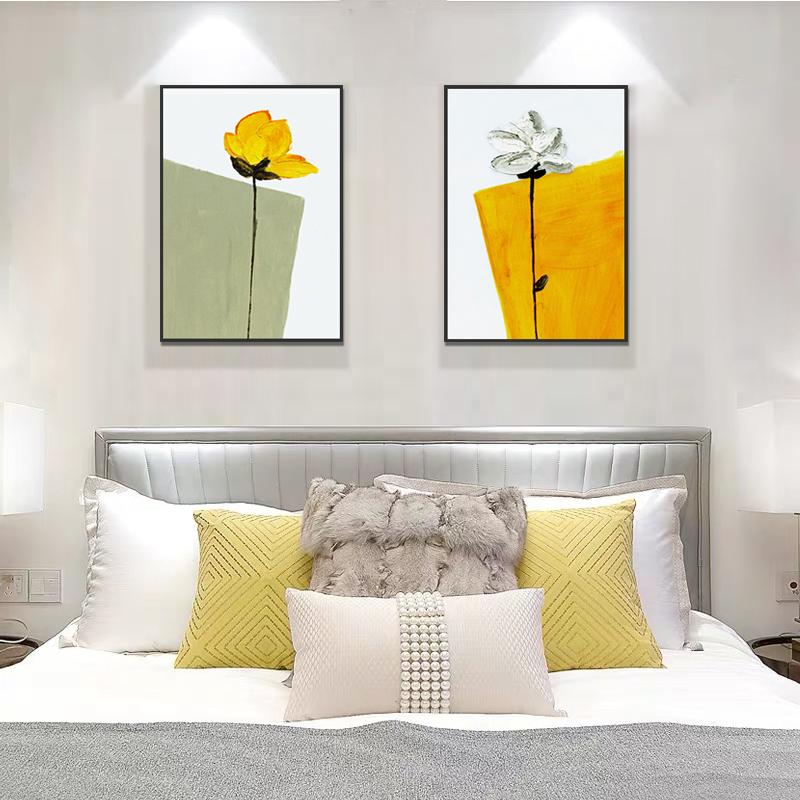 客廳沙發背景墻裝飾畫臥室床頭手繪油畫餐廳花卉壁畫現代簡約掛畫