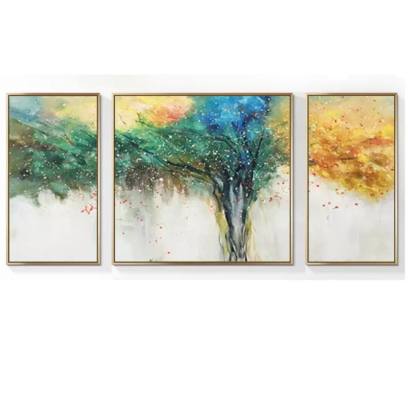 客廳沙發背景墻簡約裝飾畫現代抽象三聯畫臥室輕奢掛畫手繪油畫