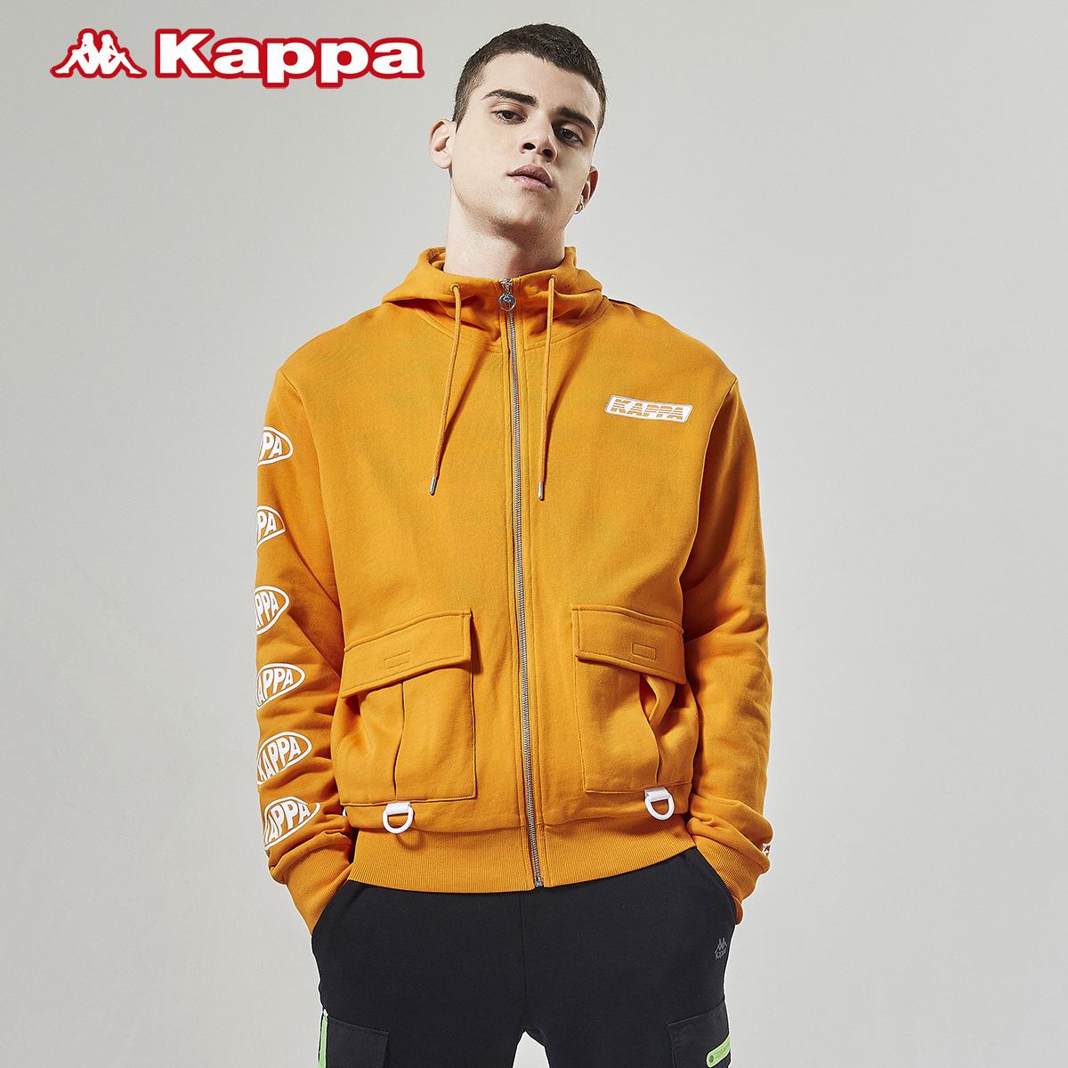 Kappa卡帕男款运动卫衣休闲工装大口袋外套长袖开衫帽衫2020新款