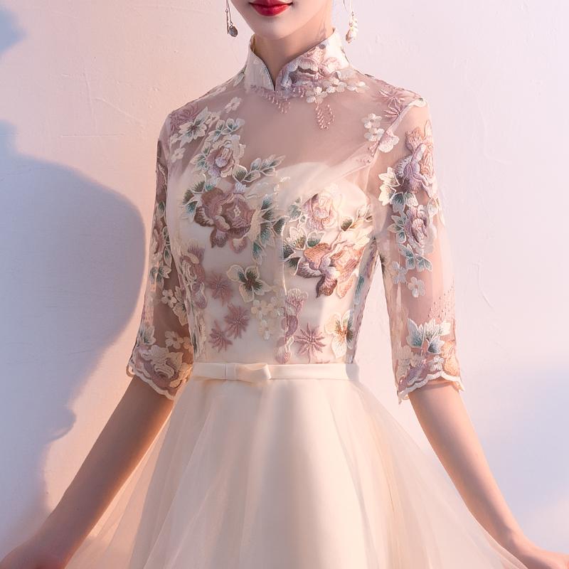 香槟色晚礼服女2019新款中式宴会主持人连衣裙年会旗袍伴娘服春季