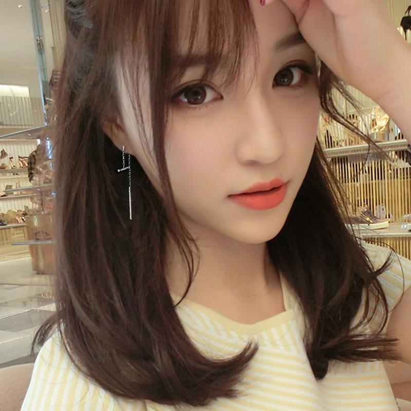 S925银针韩国气质简约流苏耳钉长款个性百搭耳饰耳坠毛毛球耳环女