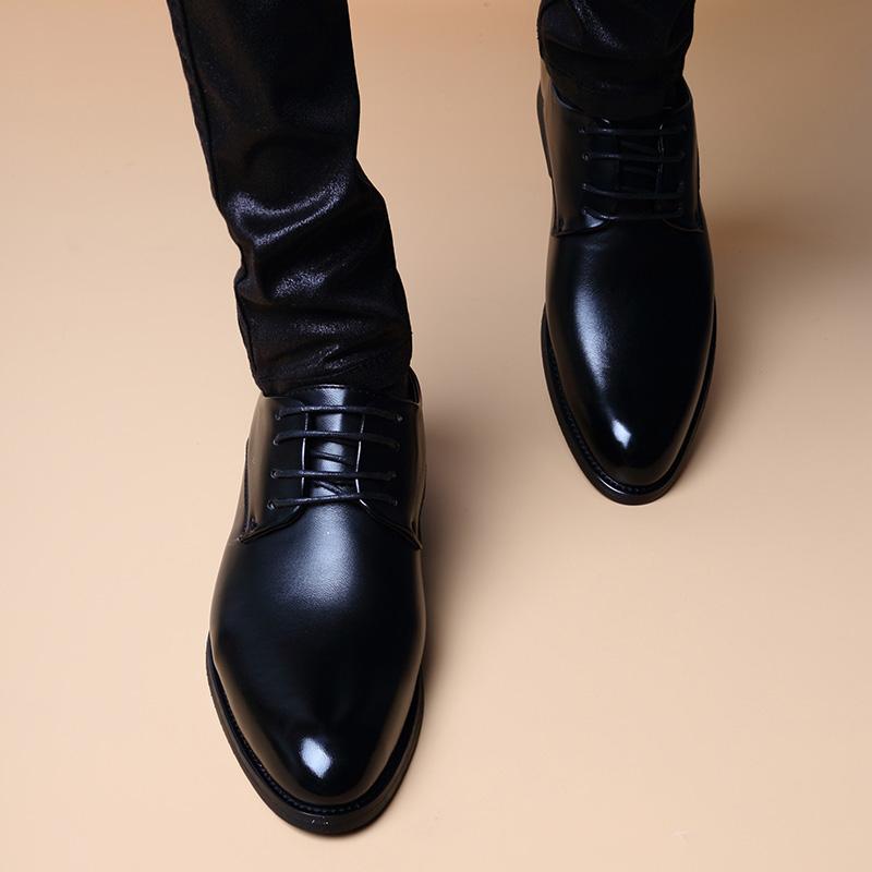 皮鞋男韩版真皮软底增高男鞋青年英伦尖头潮流休闲正装男商务皮鞋