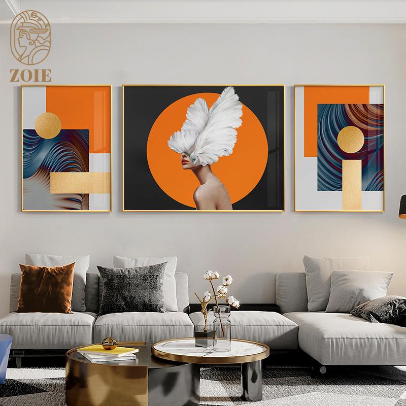 后现代轻奢客厅装饰画摩登抽象玄关画橙橘色人物沙发背景墙三联画