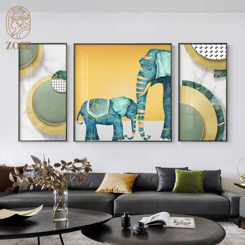 大象客厅沙发背景墙装饰画现代简约大气三联餐厅壁画时尚轻奢挂画