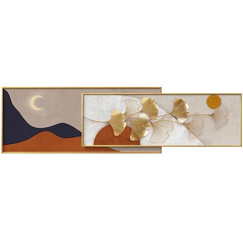 简约现代轻奢银杏叶客厅壁画卧室床头挂画大气沙发背景墙装饰画