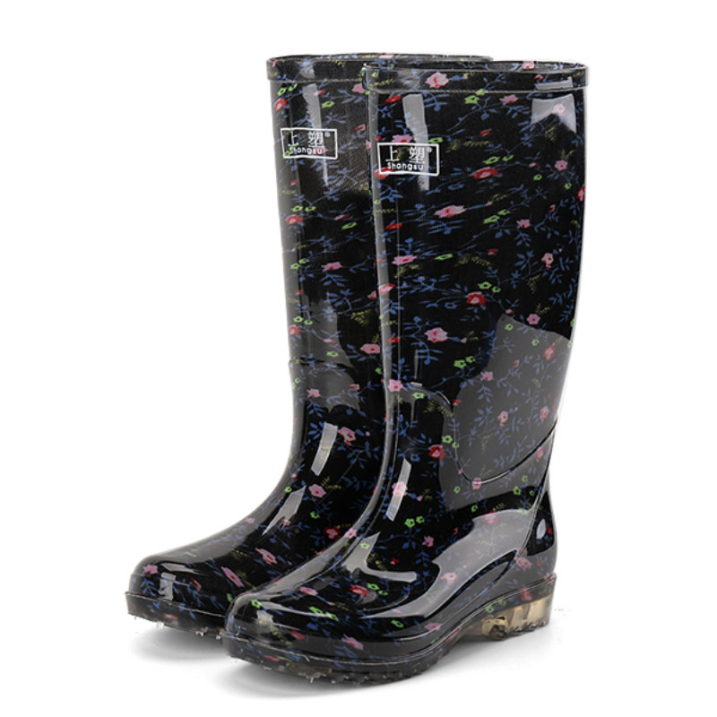 可爱雨鞋女成人高筒雨靴防滑水靴加绒保暖水鞋防水长筒加棉工作鞋