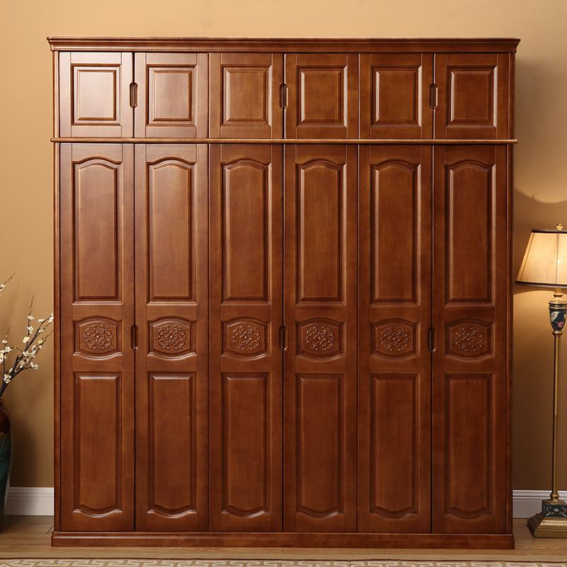 实木衣柜现代简约中式整体3门4门5门6门衣柜卧室经济型整体大衣柜