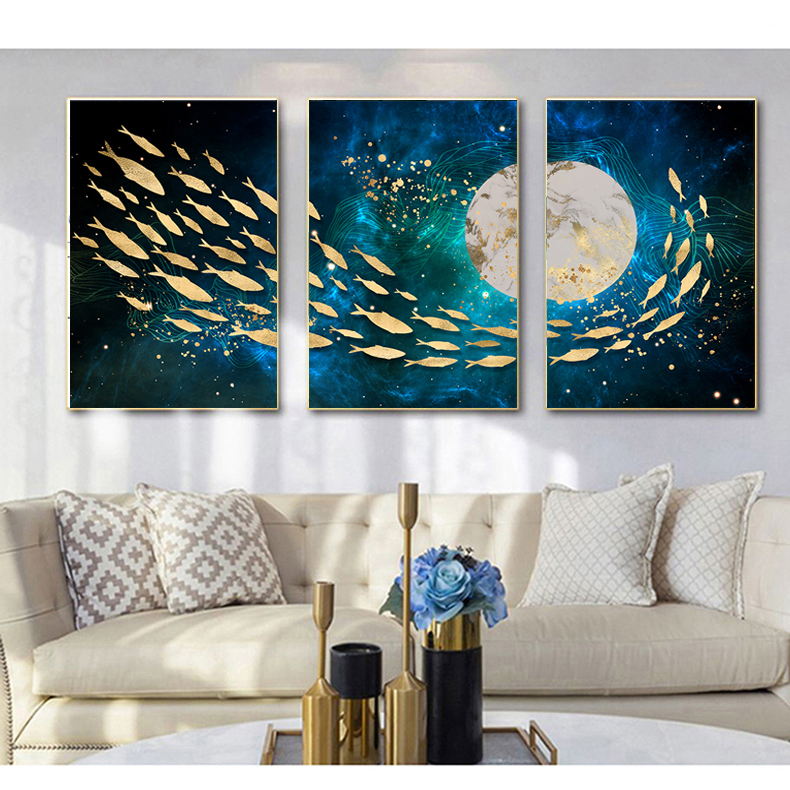 堆积装饰画 8D 客厅新中式装饰画现代沙发背景墙画北欧风格三联画
