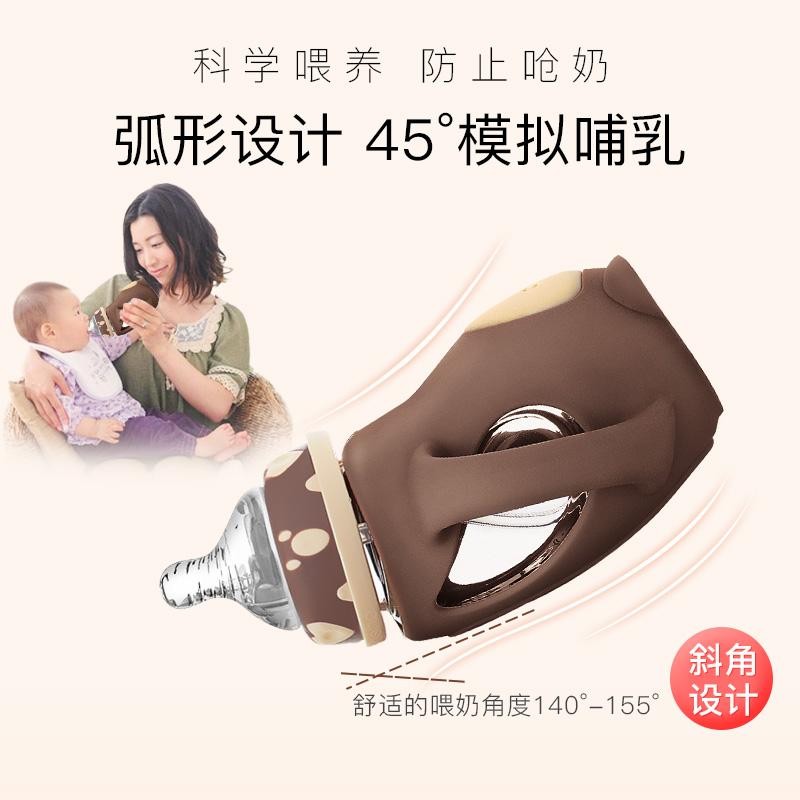 恩尼诺婴儿玻璃吸管奶瓶硅胶防摔保护套新生儿防胀气宝宝宽口径