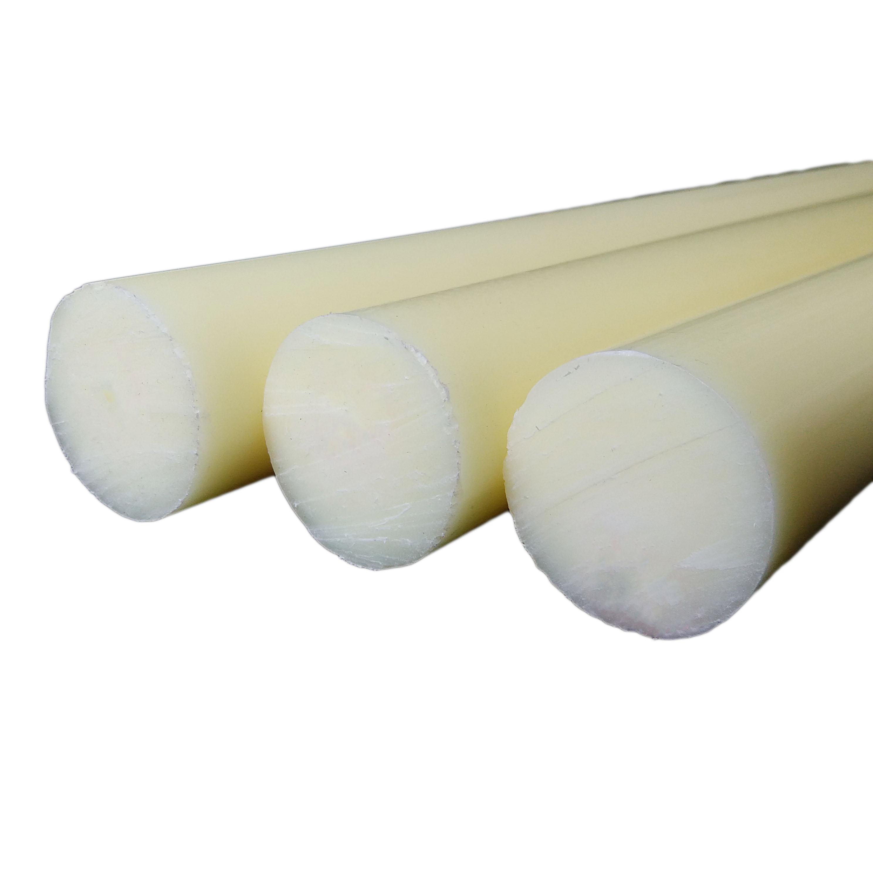 米黄色尼龙棒实心圆柱耐磨塑料棒圆棒硬胶棍子长胶棒料泥呢绒棒材